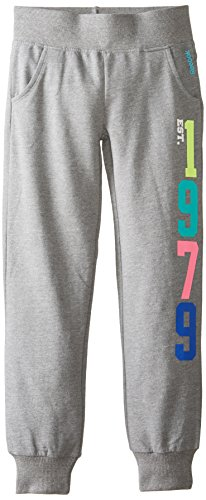 Reebok Big Girls' French Terry Cuffed Pants, Grey Heather, Small front-653387