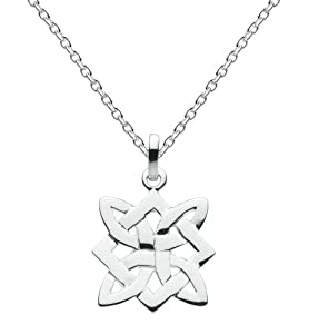 """Heritage Womens Silver Plated Celtic Square Cross Knot Necklace SP92802HP, 18"""""""