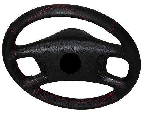AERZETIX-Couvre-volant--coudre-en-cuir-vritable-Couleur-noir-Surpiqres-en-X-rouges-Taille-M