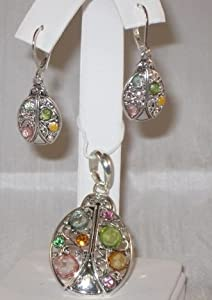 Lady Bug Silver-tone Pendant Necklace and Earring Set