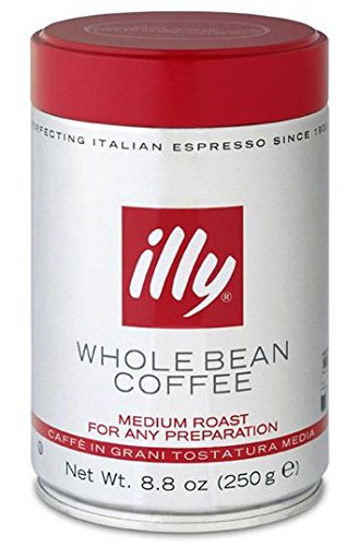 Illy Caffe Normale Whole Bean Coffee, Medium Roast, Red Top, 8.8 coffee cans (Pack of 6) Package may vary