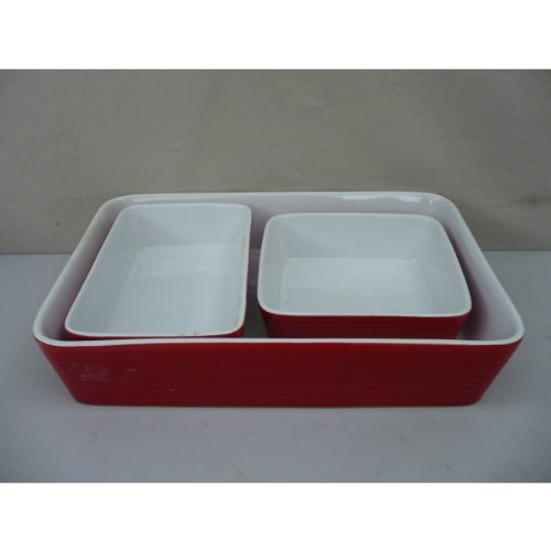 Home Essentials 3-pc Bakeware Set, White/Red