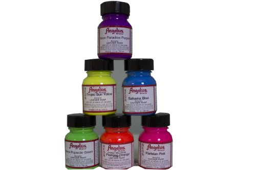 Angelus Neon Acrylic Paint Starter Kit, 6 Pack (Angelus Leather Paint Neon Colors compare prices)