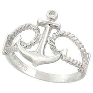 Sterling Silver Anchor Ring 9/16 inch (14 mm) long, size 4.5