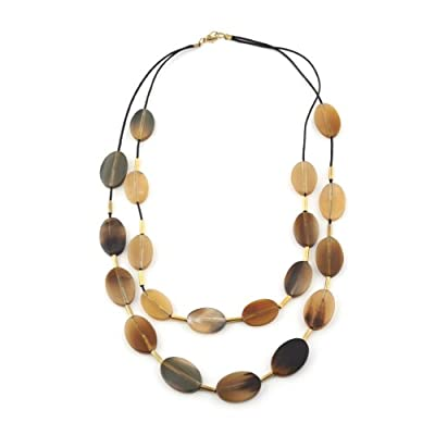Oval Horn Short Beaded Necklace