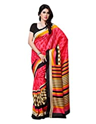101cart Carrot Color Art Silk Party Wear Saree