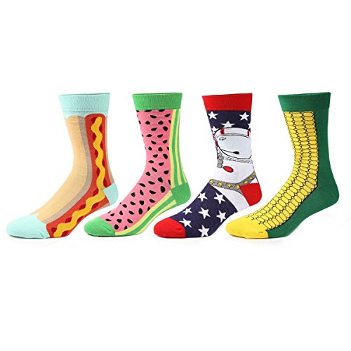 Zmart 4 Pairs Funny Colorful Novelty Crew Socks Casual Patterned Socks (Funny Socks Pack compare prices)