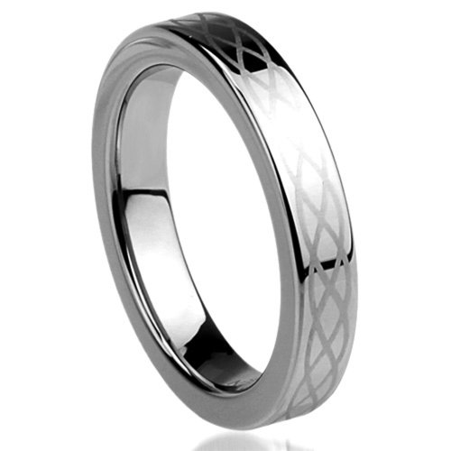 Unisex Women'S 4Mm Titanium Comfort Fit Wedding Band Ring Celtic Knot Engraved Ring (5 To 11) - Size: 9