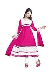 Parinaaz fashion Chhaya Georgette Rani Unstitched Anarkali salwar suit dress material