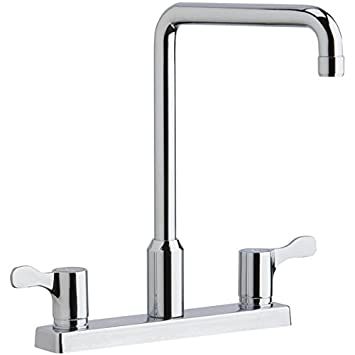 "Elkay LKD2442C Dual Handle Kitchen Faucet, 8"" Centerset with Exposed Deck, 8"" Hi-Arc Swing Spout, Blade Handles, Chrome, ADA"
