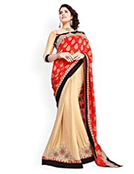 Crepe Saree In Red Colour For Party Wear - B00V81G46Y