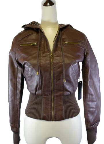 Faux Leather Bomber Jacket with Hood (medium, brown)
