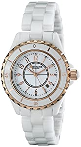 Stuhrling Original Women's 530.114EW3 Fusion Quartz Rose Gold White Ceramic Watch