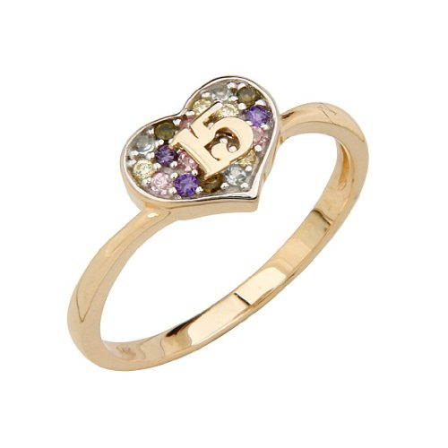 14K Yellow Gold High Polish Pave-Set Multi-Color CZ 15 Anos Quinceanera Heart Design Ladies Fashion Ring Band - Size 9