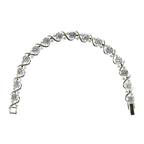 Heyjewels Women's Silver Plated Crystal Shinning S Shape Link Chain Bridal Bracelet Color Multicolor