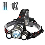 LED Headlamp, SmilingShark High Lumen Bright Headlight, Rechargeable Waterproof Work Light, Head Lights for Camping, Hiking, Outdoors (Color: Black, Tamaño: Small)