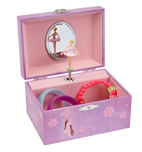 JewelKeeper Girl's Ballerina Musical Jewelry Box, Violet Design, Swan Lake Tune
