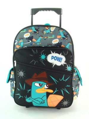 "16"" Phineas and Ferb Arms Crossed Rolling Backpack-tote-bag-school - 1"
