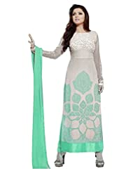 BUY 1 GET 1 FREE... Stylish Fashion Designer Green And White Embroidered Straight Salwar Suit
