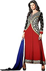 Shayona Enterprise Women's Brocade & Georgette Unstitched Dress Material (araa red11011_Red_Free Size)