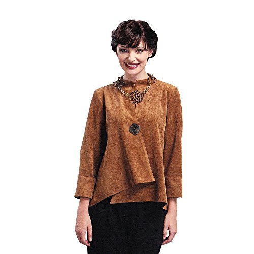 IC Collection, Beautiful Faux Suede Asymmetrical Jacket in Caramel 1488J