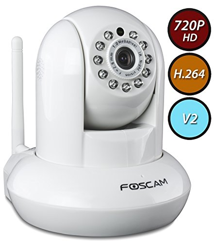 Foscam FI9821W  V2 Megapixel HD 1280 x 720p H.264 Wireless/Wired Pan/Tilt IP Camera with IR-Cut Filter (White)