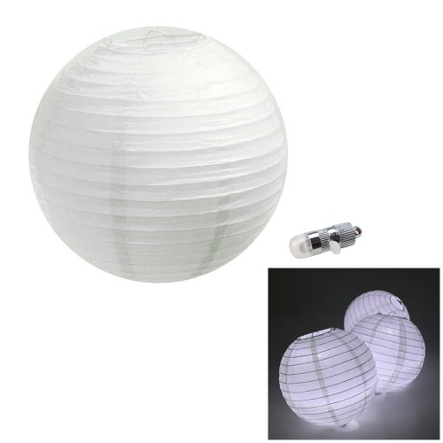 "Image® 5Pcs White Chinese/Japanese Paper Lanterns Lamp 8"" Diameter (Led Light Included) Wedding Party Christmas Decoration"