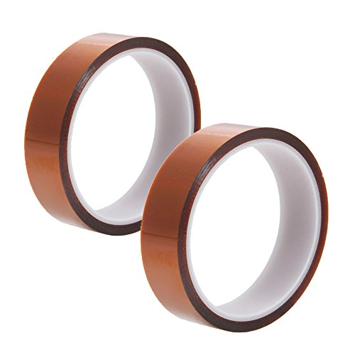 Olymstore(Tm) 2 Pcs Roll Type 20Mm Width Industry High Temperature Heat Resistance Adhesive Tape Tawny