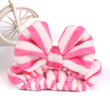 大人気 洗顔用 可愛い もこもこ ヘアバンド 高品質 ピンクホワイトストライプ