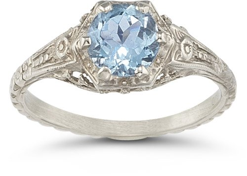 The non diamond engagement rings Cheap Vintage Floral Aquamarine Ring in 14K
