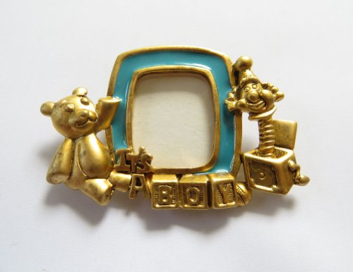 Danecraft Gold - Plated Baby Boy Picture Frame Pin Brooch front-204079