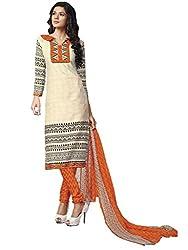 Beige & Black colour embroidered crepe fabric semi stich churidar dress material