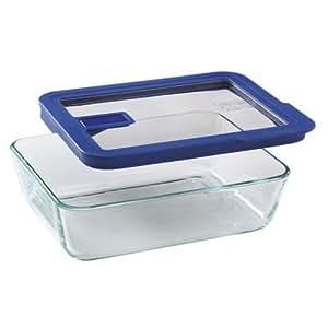 Pyrex No Leak Lids 6 Cup Rectangle Baking Dish with Plastic Lid