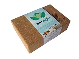 Zen Active Yoga Block - 4.8 Out of Five Stars - Non Slip Cork Yoga Block - Environmentally Friendly and 100% Renewable Cork - Best Block For Yoga Or Pilates - Love It Or It's Free!