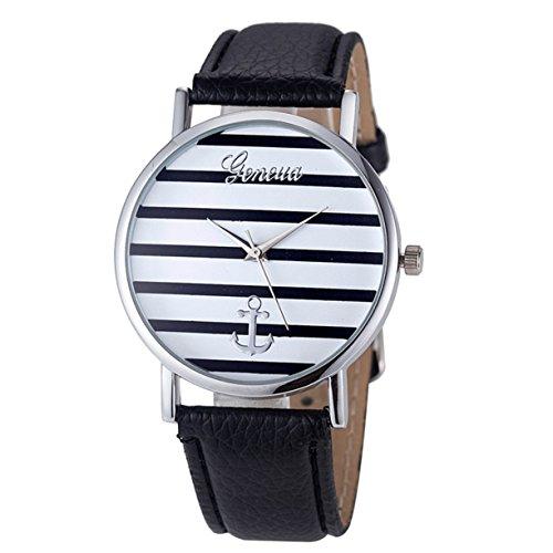 cuir-femmes-quartz-montres-reaso-geneve-striped-anchor-analogique-montre-bracelet-argent-noir
