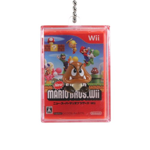 "New Super Mario Bros Wii Spring Shadow Box 1.75"" Keychain - Goomba"