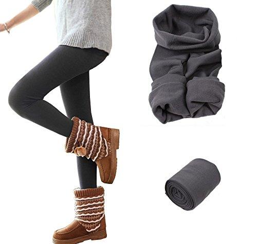 Set 5 leggings donna effetto termico interno felpato elasticizzato collant winter fuseaux. MWS (L/XL)