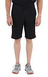 LLUMINATI Men's Cotton Shorts (Bermuda Black, Black, XL)