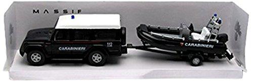 Mondo Motors - 53131carabi, MODELLINO Auto -1/43 Vigili del Fuoco Jeep Massif+Gommone