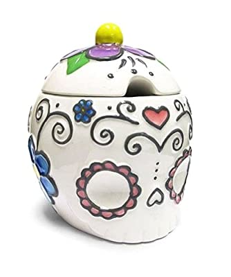 "Ceramic Sugar Skull Sugar Bowl with Hearts & Flowers-4.5"" from Sugar Skulls"