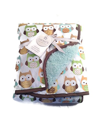 Carter's Velour Sherpa Blanket, Owls - 1