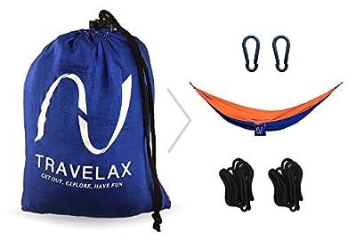 Leichte und tragbare Hängematte - inklusive Befestigung - von Travelax aus reißfester Fallschirmseide für die Reise, den Garten oder zum Camping von Travelax bei Gartenmöbel von Du und Dein Garten