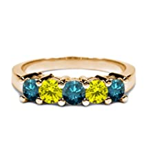 buy 0.96 Ct Round Blue Diamond Canary Diamond 18K Yellow Gold Wedding Band Ring