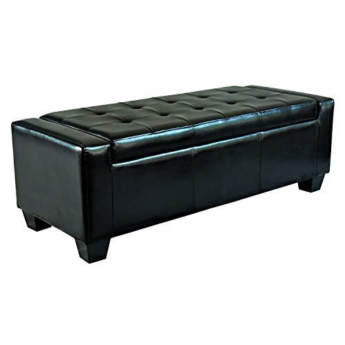 Homcom Faux Leather Storage Ottoman / Shoe Bench - Black (Ottoman Storage Bench Black compare prices)