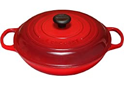 Le Creuset Signature Enameled Cast-Iron 3-3/4-Quart Round Braiser, Cerise (Cherry Red)