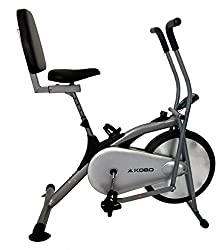 Kobo Air Bike Delux Exercise Cycle With Back Rest Dual Action / Electronic Meter (Silver)