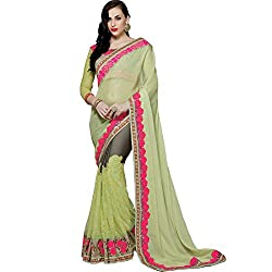 Vasu Saree Swanky Lime Green Net Designer Bridal Saree