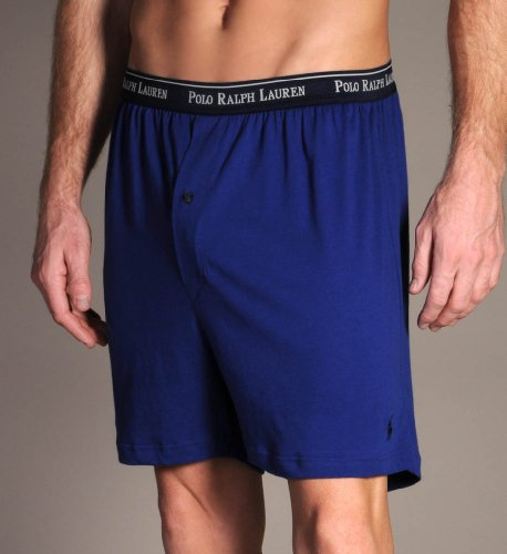 Polo Ralph Lauren Classic Cotton Knit Boxer Shorts-3 Pack Assorted Blues-Medium