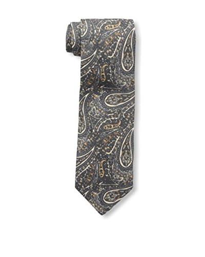 Rossovivo Men's Paisley Tie, Gray/Mustard