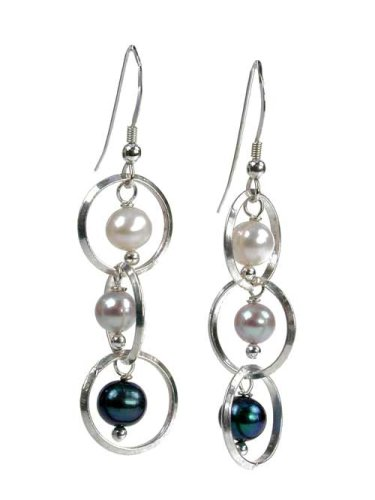 3 Sterling Circles with Peacock, White, and Grey Pearls Earrings